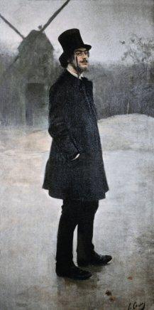 El bohemi, poeta de Montmartre. Retrat d'Erik Satie, 1891, de Ramon Casas EVANSTON, THE NORTWESTERN UNIVERSITY LIBRARY Expo Llums de bohèmia, Fundació Mapfre, Madrid