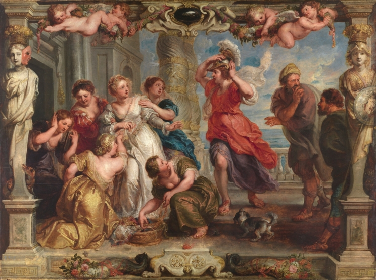 Aquiles descubierto entre las hijas de Licomedes, Rubens, 1630 El Prado